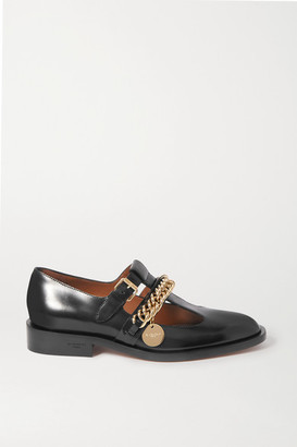 Givenchy Chain-embellished Glossed-leather Flats - Black