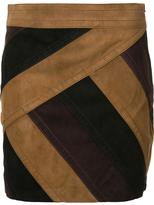 Derek Lam 10 Crosby panelled mini skirt - women - Suede/Polyester - 0