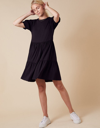 Monsoon Woven Sleeve Jersey Smock Dress with LENZING ECOVERO Black