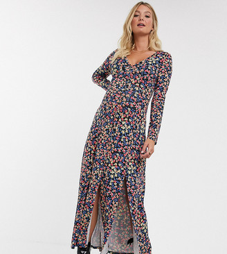 Asos DESIGN Maternity long sleeve button through maxi tea dress with splits in print
