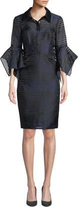 Badgley Mischka Sheer Striped Trumpet-Sleeve Shirtdress