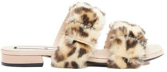 N°21 N21 Double Strap Fur Sandals