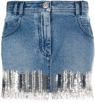 Balmain Sequin-Embellished Denim Skirt