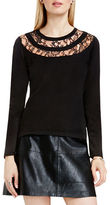 Vince Camuto Solid Lace Yoke Sweater