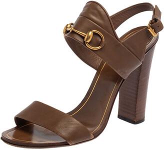 Gucci Brown Leather Horsebit Slingback Block Heel Sandals Size 38.5