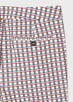 Paul Smith Women's Slim-Fit White Cotton-Stretch Check Pants