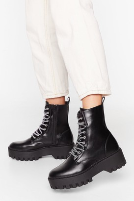 Nasty Gal Womens She's Lace-Up to Somethin' Cleated Platform Boots - Black