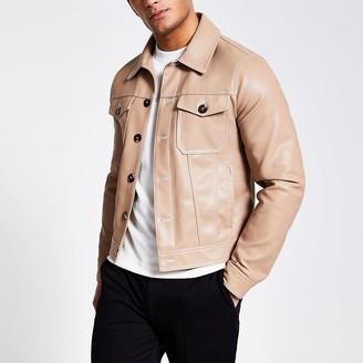 River Island Camel faux leather Western jacket