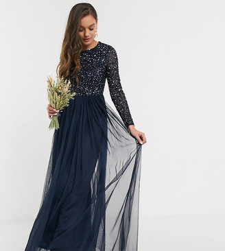 Maya Petite Bridesmaid long sleeve maxi tulle dress with tonal delicate sequins in navy