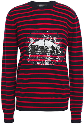 Markus Lupfer Mia Sequin-embellished Striped Merino Wool Sweater