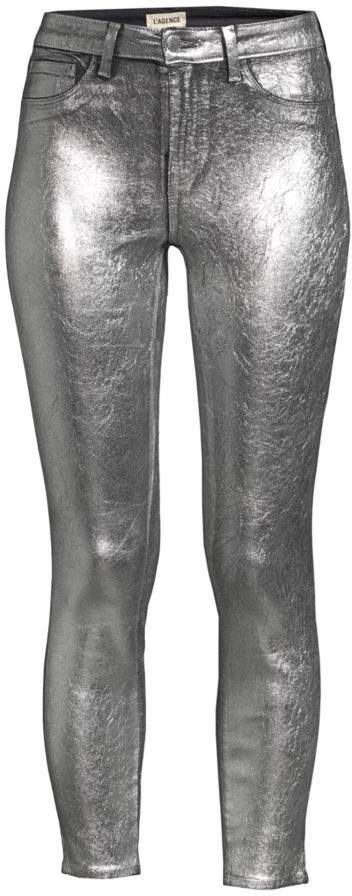 L'Agence High-Rise Metallic Ankle Skinny Jeans