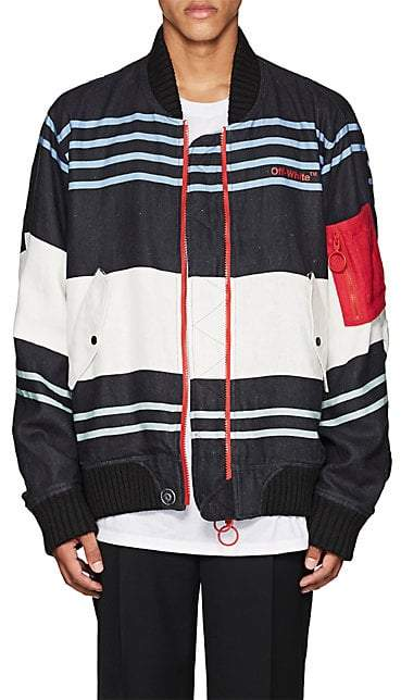 Off-White MEN'S MA-1 STRIPED LINEN BOMBER JACKET - BLACK SIZE XXS