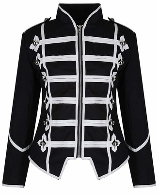 Ro Rox Women's Ladies Steampunk Military Punk Parade Jacket - Black& Silver (3XL - UK 18)
