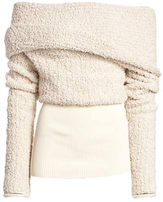 3.1 Phillip Lim Off-The-Shoulder Boucle Wrap Sweater