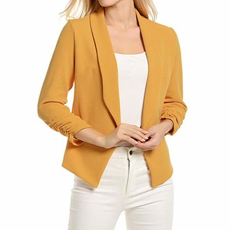 URIBAKY Women 3/4 Sleeve Blazer Open Front Short Cardigan Suit Jacket Work Office Coat Yellow