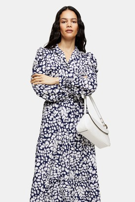 Topshop Womens Navy Animal Print Puff Sleeve Blouse - Navy Blue