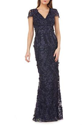 Carmen Marc Valvo V-Neck Cap-Sleeve 3D Petal Embellished Column Gown