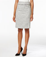 Kasper Tweed Fringe Pencil Skirt