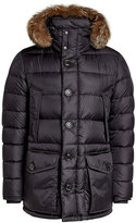 Moncler Quilted Down Jacket with Fur-Trimmed Hood
