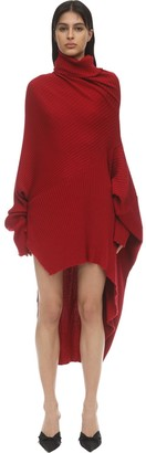 Marques Almeida Draped Merino Wool Knit Sweater