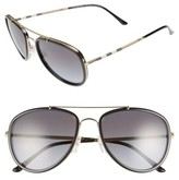 Burberry Women's 58Mm Check Temple Pilot Sunglasses - Matte Black