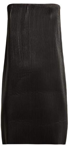 Versace Strapless Pleated Leather Mini Dress - Womens - Black