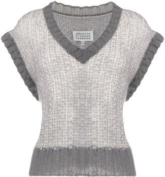 Maison Margiela cropped V-neck knitted vest