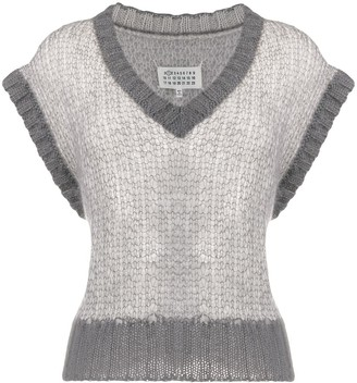 Maison Margiela cropped V-neck knitted vest
