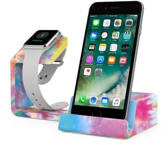 Posh Tech Dual 2-in-1 Charging Stand for Apple Watch and Smartphones - Tie Dye
