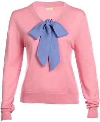 Asneh Helen Sweater Candy Pink with Cornflower Blue Silk Tie