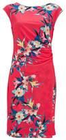 Wallis Pink Tropical Fern Ruched Side Shift Dress