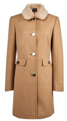 Dorothy Perkins Womens Camel Faux Fur Collar 'Dolly' Coat