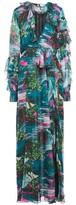 MSGM Cutout Ruffle-trimmed Printed Chiffon Maxi Dress