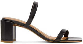 BY FAR Black Leather Tanya Heeled Sandals