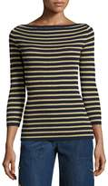 Michael Kors Metallic-Stripe Boat-Neck Sweater, Maritime/Gold