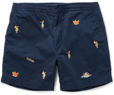 Polo Ralph Lauren Slim-fit Embroidered Stretch-cotton Twill Shorts - Navy