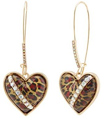Betsey Johnson Leopard Heart Shepherd's Hook Earrings (Leopard) Earring