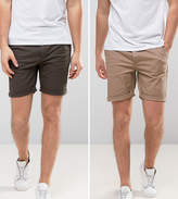 Asos 2 Pack Slim Chino Shorts In Khaki & Stone Save
