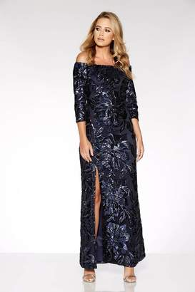 Quiz Navy Flower Sequin Bardot Maxi Dress