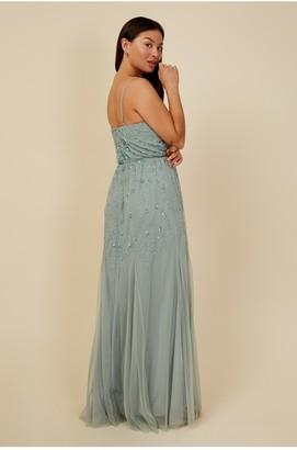 Little Mistress Bridesmaid Aida Waterlily Floral Embellished Maxi Dress