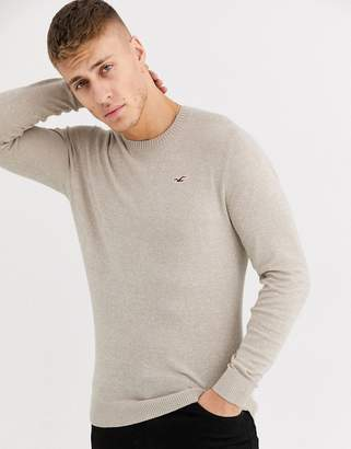 Hollister icon logo core crewneck knit jumper in light brown marl