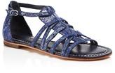 Bernardo Maya Snake-Embossed Flat Sandals