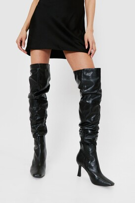 Nasty Gal Womens Ask Me Thigh High Slouchy Heeled Boots - Black - 5, Black