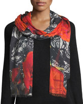 Neiman Marcus Winter Floral-Print Scarf
