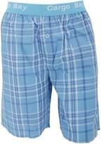 Cargo Bay Mens Woven Plaid Pattern Pyjama Shorts With Jacquard Waist