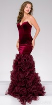Jovani Strapless Sweetheart Velvet Ruffle Mermaid Dress