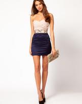 Elise Ryan Gathered Bustier Embellished Waist Dress
