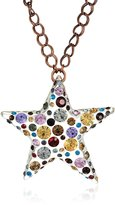 """Betsey Johnson Confetti"""" Mixed -Colored Stone Lucite Star Long Pendant Necklace"""