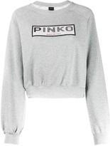 Pinko embellished logo cropped sweatshirt