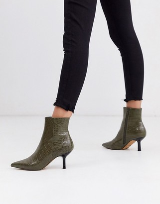 Topshop heeled boots with point toe in khaki